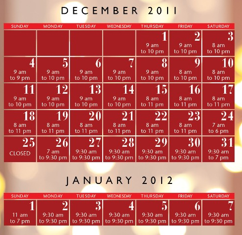 bellevue square 2011 holiday hours