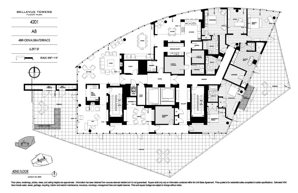 Beautiful Bellevue Towers Penthouse Floor Plan