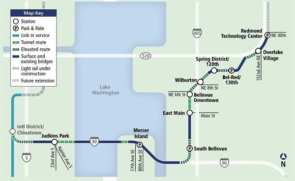Sound Transit Light Rail East Link Map