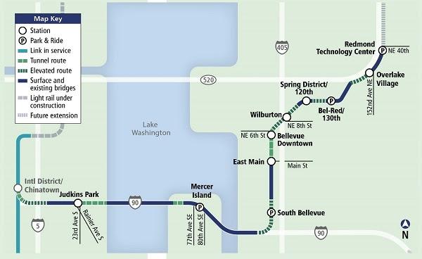 Sound Transit Light Rail East Link Map