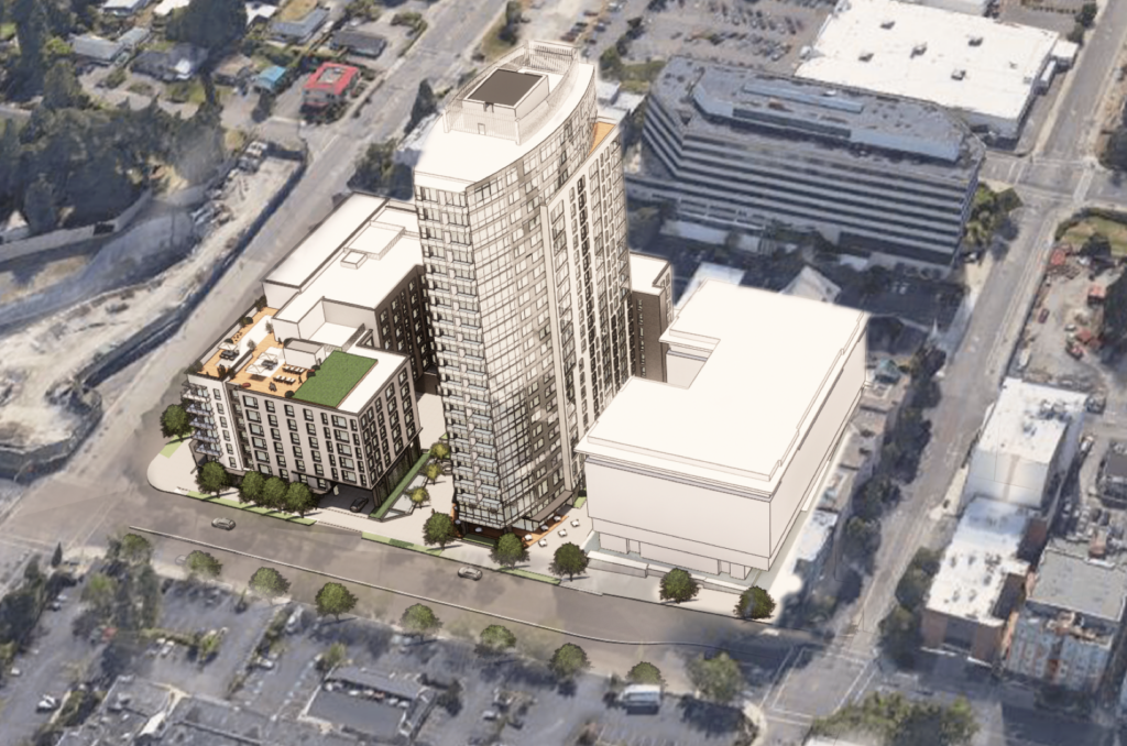 Broadstone Bellevue Gateway Building Birdseye view Rendering