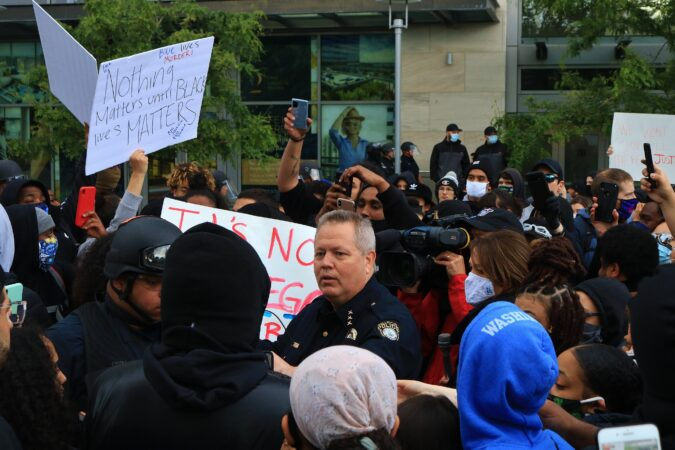 Images and Video Capture Sunday's Peaceful Protest and Looting in Downtown Bellevue